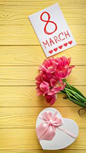 Фотография Праздники 8 марта Тюльпаны Доски Английский Подарки Бантик Цветы