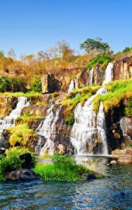 Фото Вьетнам Водопады Осень Камни Pongour waterfall Природа