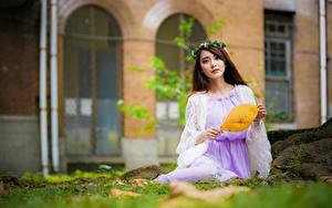 Картинки Азиатки Боке Сидящие Платья Венком Шатенки Смотрит девушка