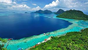 Фотография Малайзия Берег Тропики Пейзаж Залив Холмы Borneo Island (Kalimantan) Природа