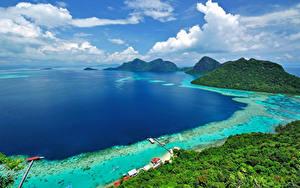 Фотография Малайзия Берег Тропики Пейзаж Залив Холмы Borneo Island (Kalimantan)