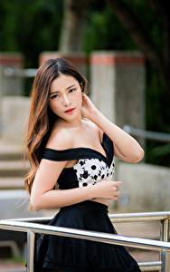 Фото Азиатки Боке Позирует Платья Рука Шатенки Смотрит Красивая девушка