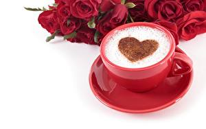 Фотография Кофе Капучино День всех влюблённых Сердечко Чашке Блюдце Белый фон