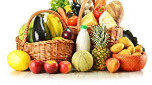 Картинки Овощи Фрукты Ананасы Картошка Корзинка Белом фоне