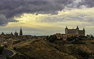 Фотографии Испания Толедо Дома Вечер Холм город