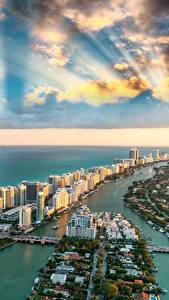 Обои США Здания Океан Небо Берег Майами Флорида Облачно Сверху Города