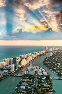 Обои Америка Здания Океан Небо Берег Майами Флорида Облачно Сверху