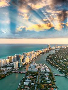 Обои Америка Здания Океан Небо Берег Майами Флорида Облачно Сверху Города