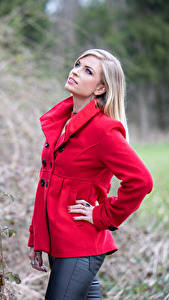 Обои Блондинок Пальто Красная Взгляд Jani Девушки