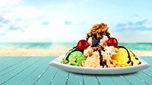 Картинки Сладости Мороженое Орехи Шоколад Доски