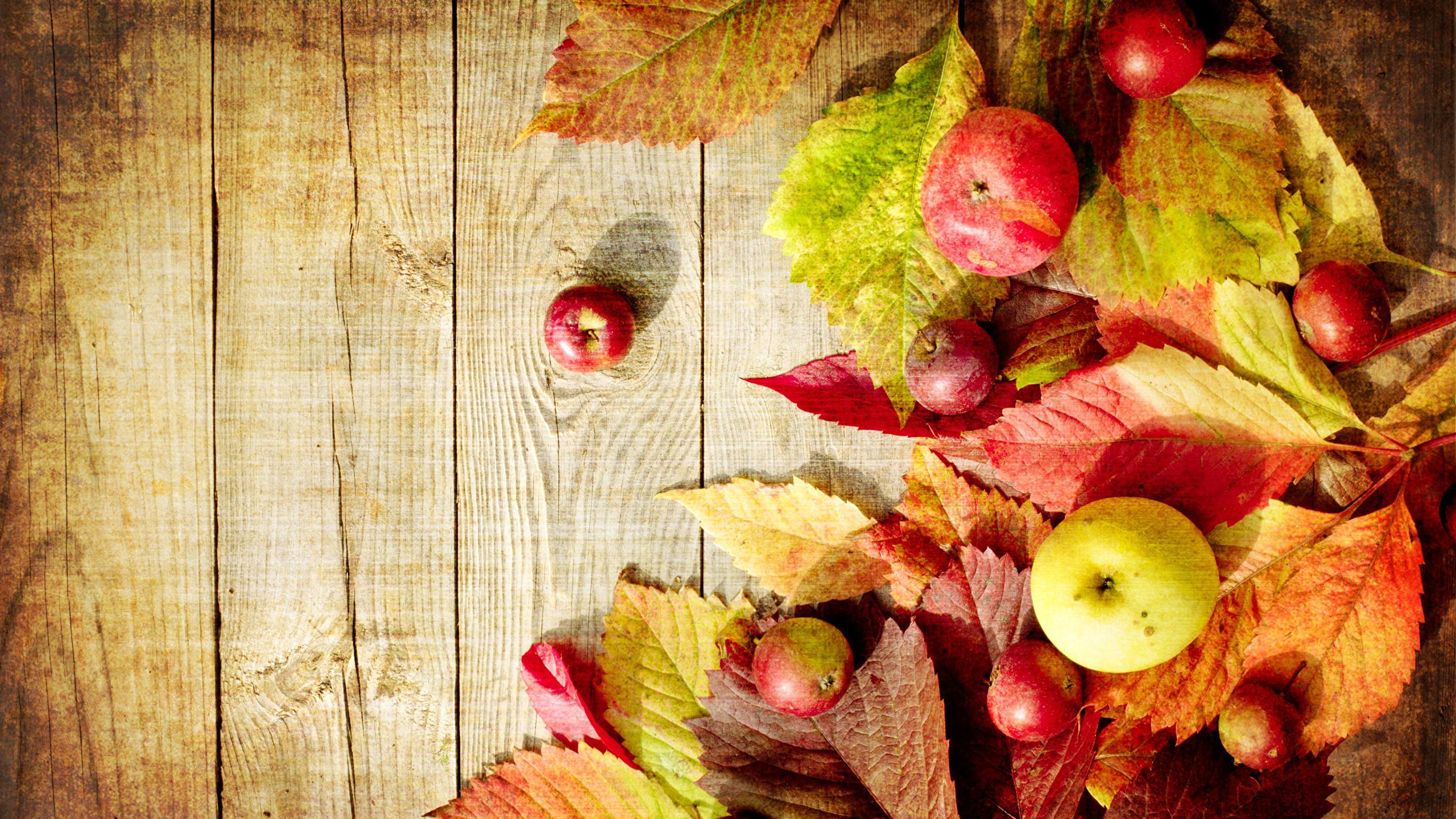 Картинки Листья Осень Яблоки Продукты питания Доски 2560x1440 лист Листва осенние Еда Пища