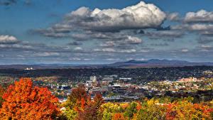 Фотография Канада Здания Осенние Небо Квебек Облака Sherbrooke Города