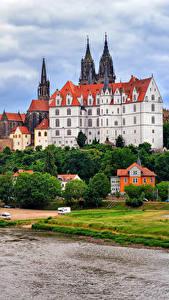 Картинки Германия Замки Речка Albrechtsburg castle Meissen