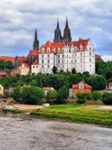 Картинки Германия Замок Речка Albrechtsburg castle Meissen город