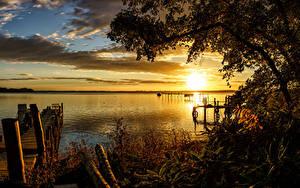 Фотографии Япония Речка Рассветы и закаты Пирсы Lake Ogawara