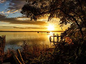 Фотографии Япония Речка Рассветы и закаты Пирсы Lake Ogawara Природа
