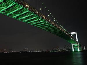 Картинка Мосты Япония Токио Ночные Rainbow Bridge город