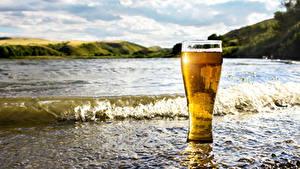 Картинки Побережье Волны Пиво Стакан Еда