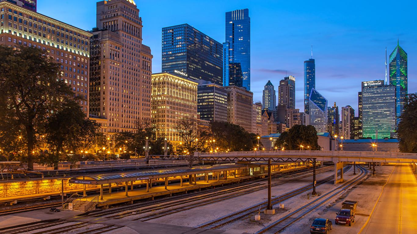 Обои чикаго, мосты, здания, chicago, сша, ночь, америка. Города foto 12