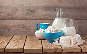 Обои Молоко Творог Сыры Доски Кувшин Еда