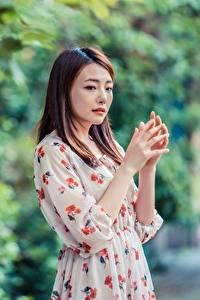 Фотографии Азиатки Размытый фон Позирует Платья Рука Шатенка молодые женщины