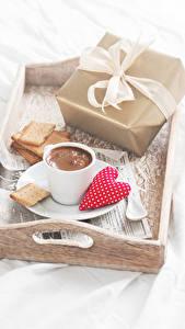 Обои Печенье Кофе Чашка Подарки Сердечко Продукты питания