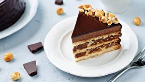 Фотографии Пирожное Торты Кусок Тарелка Еда