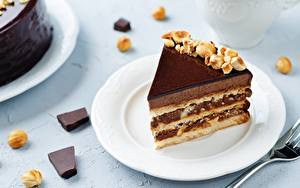 Фотографии Пирожное Торты Кусок Тарелка