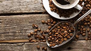 Картинка Кофе Зерна Ложка Чашка Продукты питания