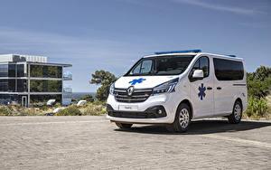 Картинка Рено Белых Металлик 2019 Trafic Ambulance Worldwide машины
