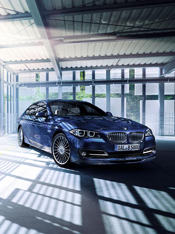 Обои для рабочего стола BMW F10 Alpina 5-Series Седан Синий Автомобили 600x800 для мобильного телефона БМВ синяя синие синих авто машины машина автомобиль