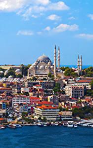 Обои Стамбул Турция Дома Причалы Катера Города
