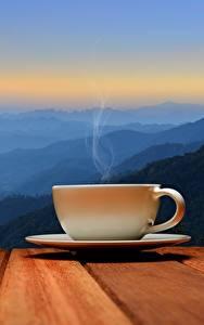 Картинка Утро Чашка Блюдце Пар Природа