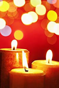 Обои Свечи Пламя Три