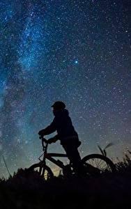 Обои Млечный Путь Небо Звезды Велосипед Силуэта Ночью Природа