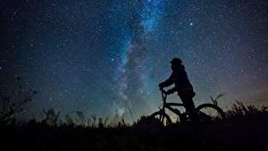 Обои Млечный Путь Небо Звезды Велосипед Силуэт Ночные Природа