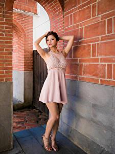 Картинка Азиатка Платье Поза Рука Смотрят девушка