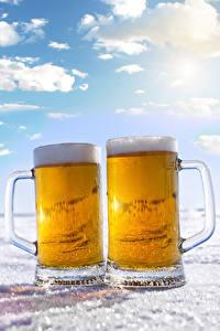 Картинки Пиво 2 Кружка Пена Пища
