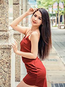 Картинка Азиатки Позирует Платья Рука Волос Шатенки Смотрит девушка