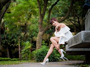 Обои для рабочего стола Азиатки Парк Скамейка Улыбка Взгляд Ног Красивая Сидит Шатенки Девушки