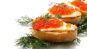 Фотография Бутерброды Морепродукты Икра Укроп Белым фоном Пища