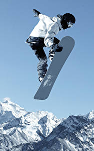 Фотография Сноуборд Зима Мужчины Горы Прыжок Спорт