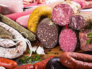 Фото Мясные продукты Колбаса Чеснок Пища