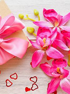 Картинки День святого Валентина Орхидеи Доски Подарки Бантик Розовый Сердце Цветы