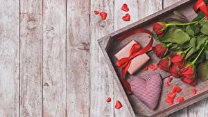 Фотография Роза День святого Валентина Доски Серце Цветы