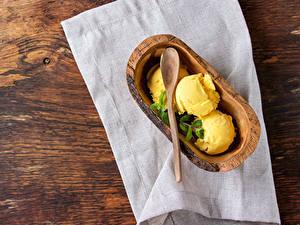 Обои для рабочего стола Сладости Мороженое Желтые Шарики Продукты питания