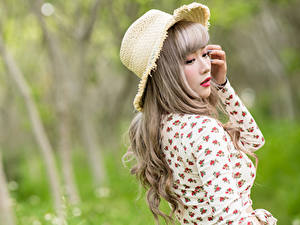 Фото Азиаты Боке Блузка Шляпа Девушки