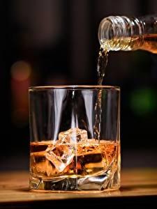 Картинка Виски Напитки Стакан Лед Еда