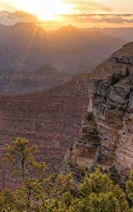 Обои Гранд-Каньон парк США Парки Рассвет и закат Утес Каньон