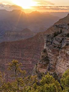 Обои Гранд-Каньон парк США Парки Рассветы и закаты Утес Каньон